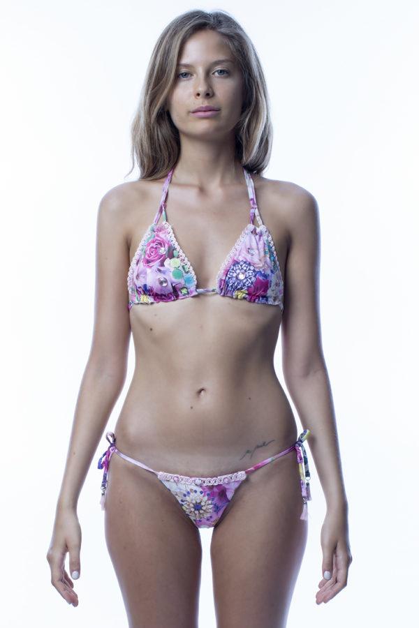 Triangolo bikini a fiori rosa easybikini