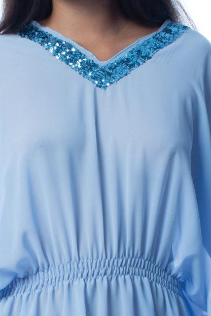 Poncho con pailettes azzurro easybikini